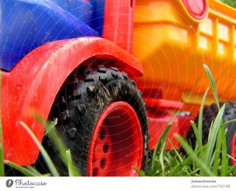 Truck Lastwagen mehrfarbig Spielzeug Spielen rot gelb Wiese Sandspielzeug Sandkasten Kraft Wagen Freude multicoloured toy toys play blau blue Rad wheel wheels