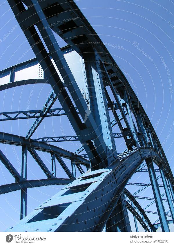 Übergang Stahl fahren Überqueren Industrie Brücke blau Himmel Bahnübergang alt Auschnitt Bridge Niete Stahlnieten Verkehrswege Metall Architektur