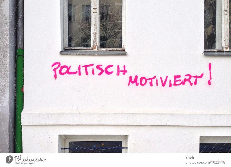 Politisch motiviert Berlin Deutschland Europa Stadt Menschenleer Mauer Wand Zeichen Schriftzeichen Graffiti sprechen Kommunizieren trashig rosa weiß chaotisch