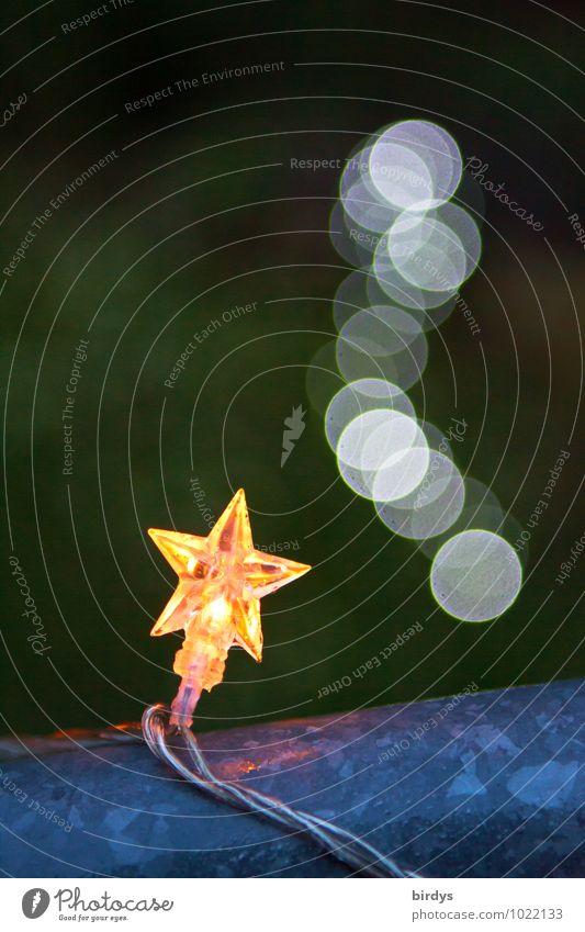 Tschüss,liebe Anne,möge der gute Stern mit dir sein Stil Dekoration & Verzierung Feste & Feiern Weihnachten & Advent Lichterkette Stern (Symbol) Punkt Unschärfe
