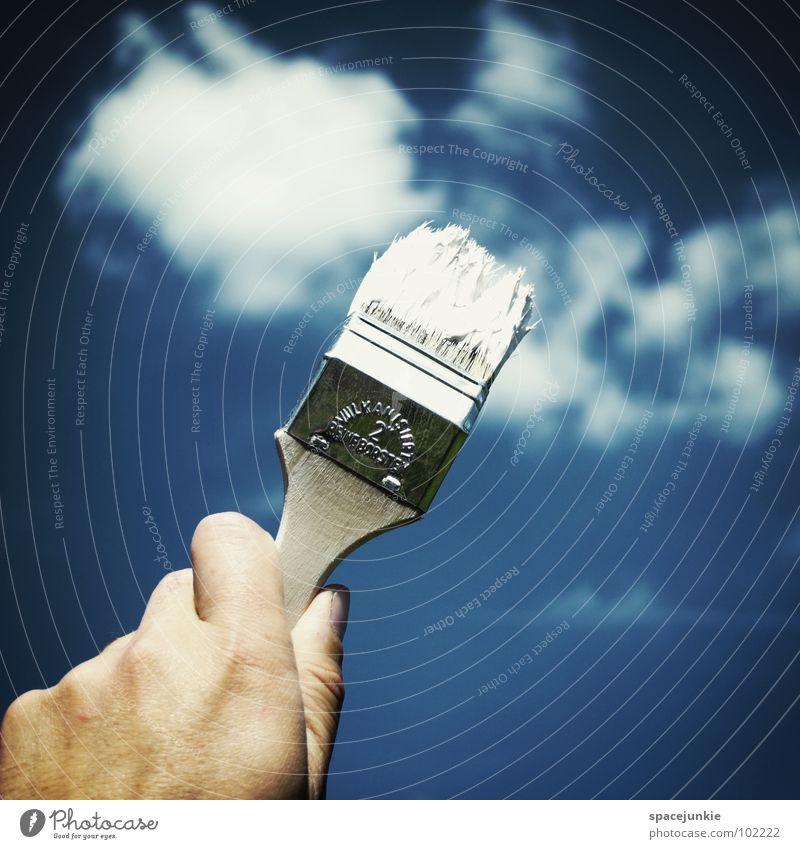 Wolken malen (1) Hand Himmel weiß Freude Wolken Farbe Graffiti Kunst streichen zeichnen Gemälde Kreativität Anstreicher Künstler Pinsel gemalt