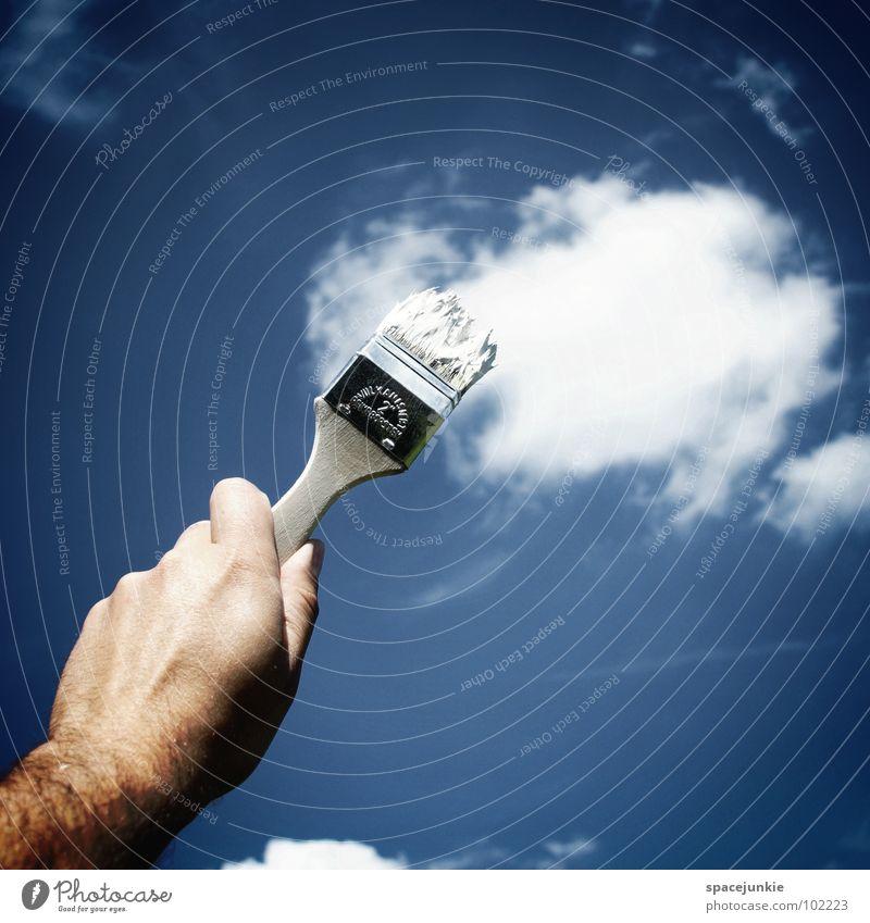 Wolken malen (2) Hand Himmel weiß Freude Farbe Graffiti Kunst streichen zeichnen Gemälde Kreativität Anstreicher Künstler Pinsel Natur