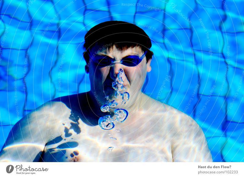 Waterworld Mann blau Wasser Ferien & Urlaub & Reisen Freude Auge Haare & Frisuren Freizeit & Hobby Mund Haut Nase Ohr Schwimmbad heiß tauchen feucht