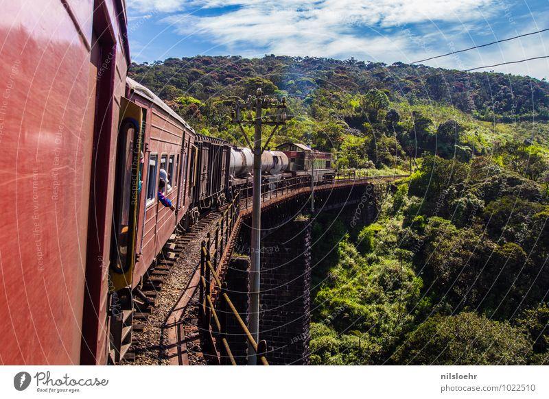 Train Ferien & Urlaub & Reisen blau Pflanze grün Sommer rot Landschaft Wolken Ferne Umwelt Verkehr Ausflug Brücke Eisenbahn Abenteuer retro