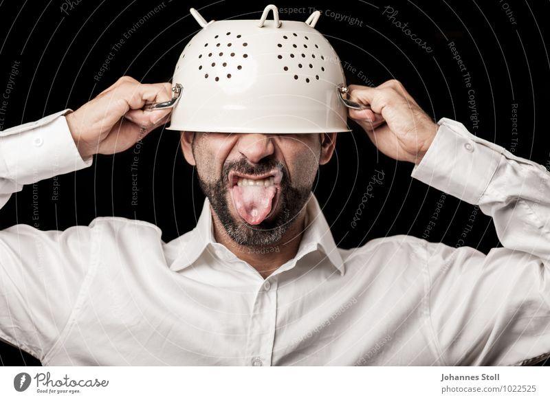 Siebträger Ernährung Geschirr Schalen & Schüsseln Topf Gesunde Ernährung Koch Küche Gastronomie maskulin Kopf Bart 1 Mensch 30-45 Jahre Erwachsene