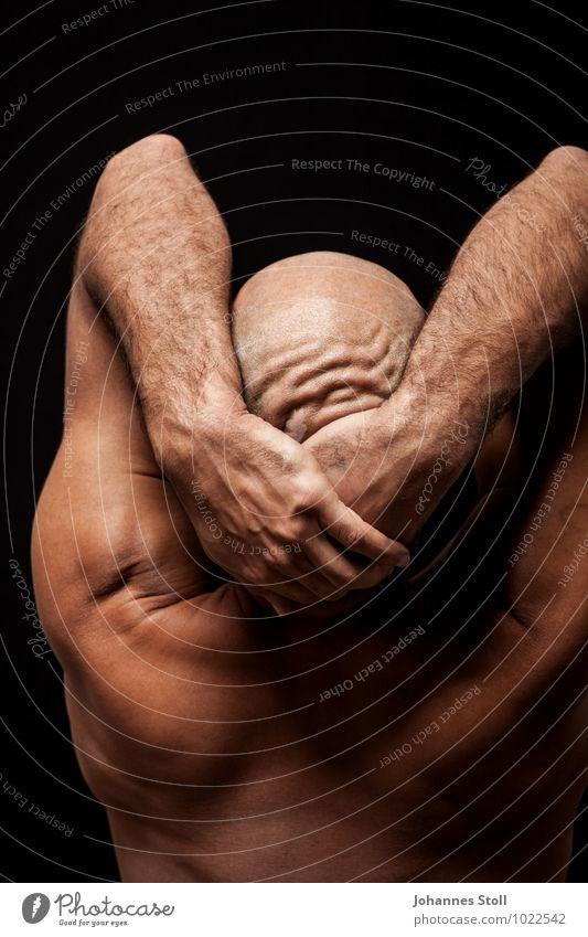 Tänzerfalten schön Meditation maskulin Körper Haut 1 Mensch 30-45 Jahre Erwachsene Kunst Theaterschauspiel Tanzen Balletttänzer Skinhead Glatze berühren