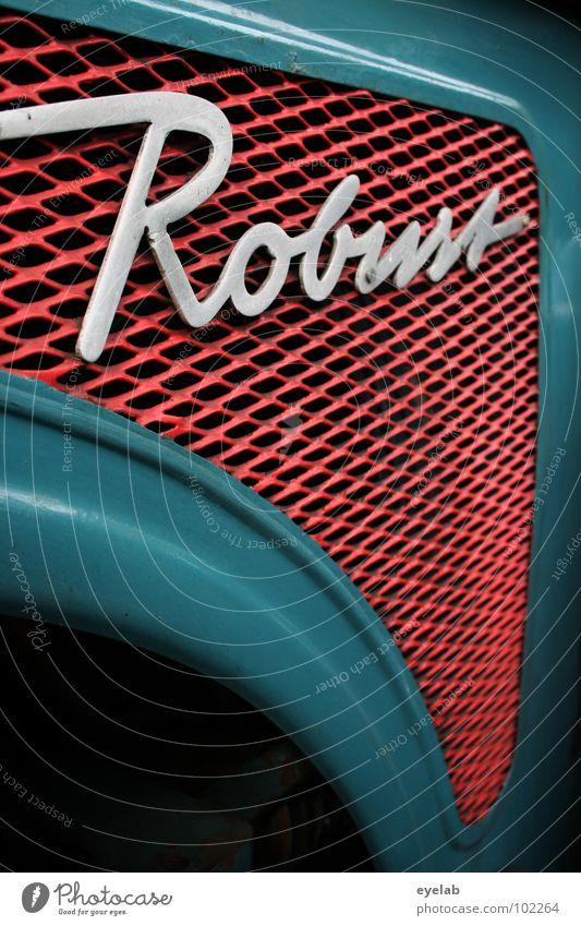 ROBUST (Jetzt noch robuster!) Typographie Schnörkel Logo Design Traktor retro Fünfziger Jahre Sechziger Jahre türkis grün Landwirtschaft Fahrzeug Maschine Motor