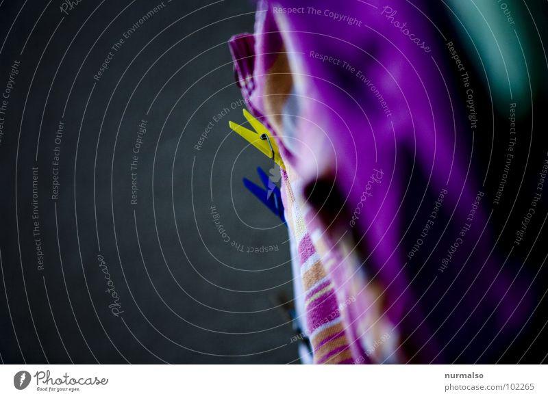 Buntwäsche blau gelb grau rosa Seil Dienstleistungsgewerbe Affen gestreift Klammer