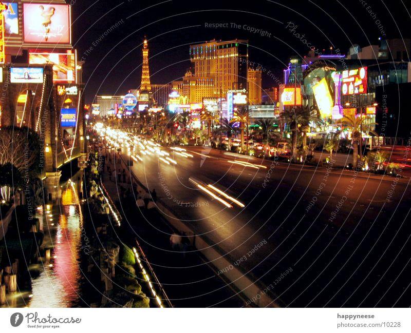 STRIP by night Striptease Las Vegas Allee Langzeitbelichtung Nacht Hotel Licht Nevada Nordamerika Straße USA