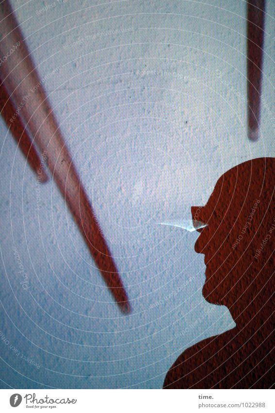 Spitzen der Gesellschaft Tapete Raum maskulin 1 Mensch Kunstwerk Mauer Wand Stab Linie beobachten Denken Blick warten Wachsamkeit Neugier Interesse ästhetisch