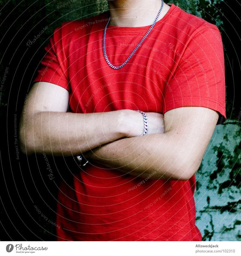 Du wirst hier nicht bestätigt! Mann rot ruhig Arme geschlossen Macht T-Shirt Club Kette Wachsamkeit Halskette Knoten Feuerwehr verschränken stur beleidigt