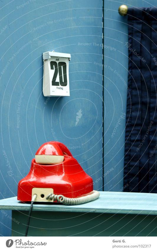 keine Nummer unter diesem Anschluß blau rot ruhig Wand Holz Büro warten Dekoration & Verzierung Kommunizieren Technik & Technologie Telekommunikation Schnur Telefon retro Ziffern & Zahlen streichen