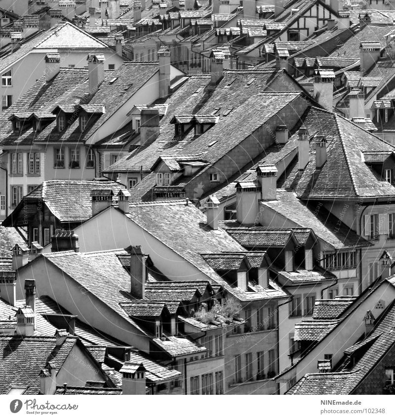 gut beDACHt! Dach Haus Backstein schwarz weiß Schornstein Fenster Dachgiebel Dachterrasse Rauch grau Stadt Schweiz Fachwerkfassade mehrere eckig Dreieck Quadrat