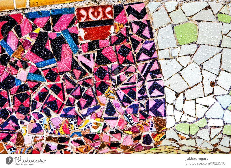 Barcelona Park Bauwerk Gebäude Architektur Fassade Sehenswürdigkeit Wahrzeichen Stein glänzend verrückt Park Güell Mosaik Farbfoto mehrfarbig Außenaufnahme