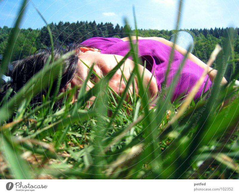 Awake in the wilderness Knie Gras grün violett schwarz Wiese Baum Sommer schlafen Erholung Freizeit & Hobby Frau Mensch Gesicht Haare & Frisuren blau Rasen