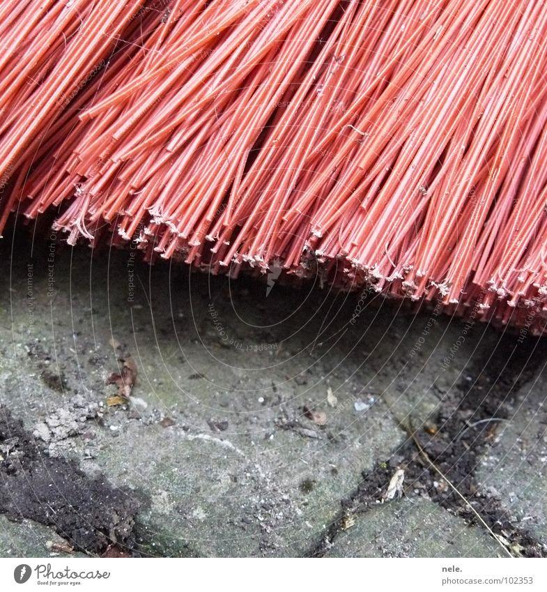 papas zweite wahl Besen rot Sauberkeit Borsten dreckig steinig Kehren Reinigen Arbeit & Erwerbstätigkeit Spinnennetz Haushalt Verkehrswege Langeweile Stein