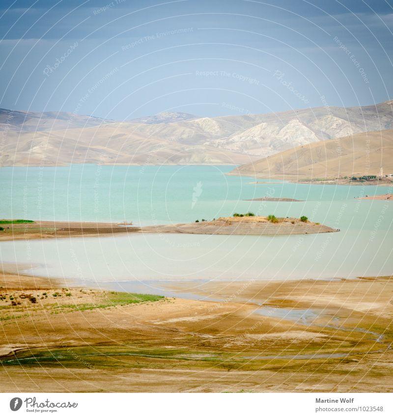 Barrage Sidi Chahed im Quadrat Natur Landschaft Berge u. Gebirge Atlas See Marokko Afrika Idylle Ferien & Urlaub & Reisen ruhig Pastellton Farbfoto