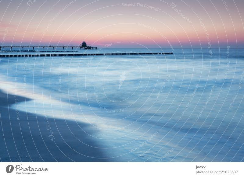 Ausruhen Himmel blau schön Sommer Wasser Meer Landschaft ruhig Strand schwarz grau rosa Horizont orange Wellen Schönes Wetter
