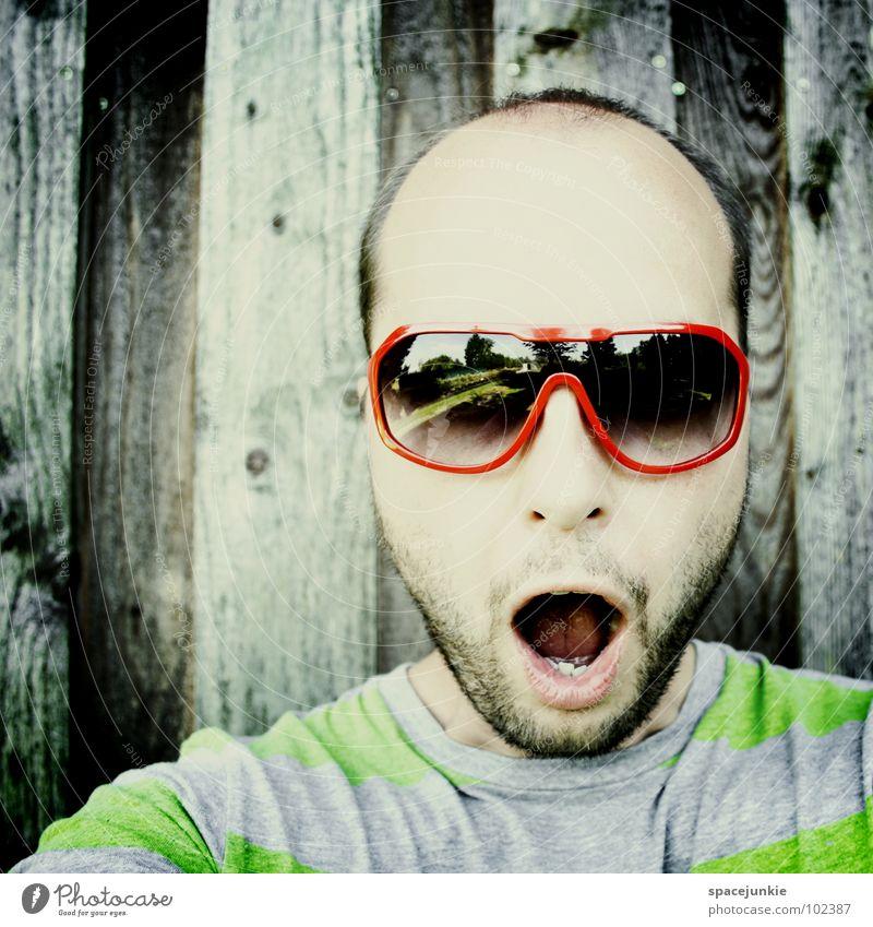 Da da da...... Mann Sommer Freude verrückt Brille Streifen skurril Sonnenbrille erstaunt