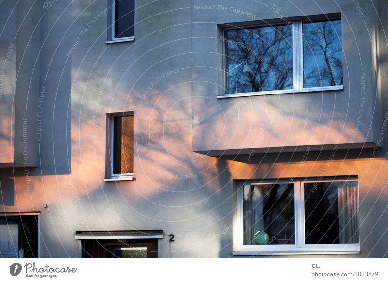 lichter Umwelt Sonnenlicht Herbst Klima Wetter Schönes Wetter Baum Haus Mauer Wand Fassade Fenster Vorhang Globus Häusliches Leben blau grau orange Lichtspiel