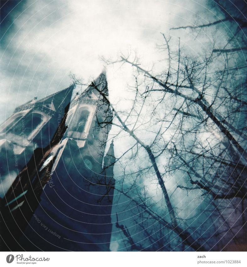 blueS Himmel blau Pflanze Baum Wolken dunkel Fenster Architektur Gebäude Religion & Glaube Kirche Turm Burg oder Schloss Bauwerk gruselig