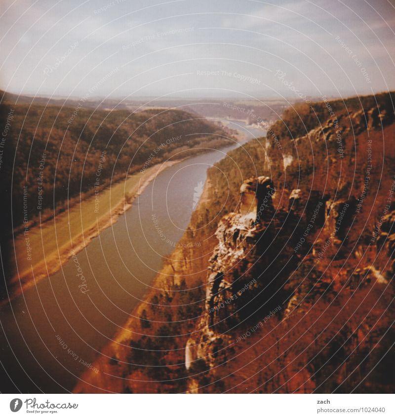 Immer das Elbe Ausflug Berge u. Gebirge Wasser Himmel Herbst Pflanze Baum Wiese Wald Hügel Felsen Elbsandsteingebirge Sächsische Schweiz Gipfel Küste Flussufer