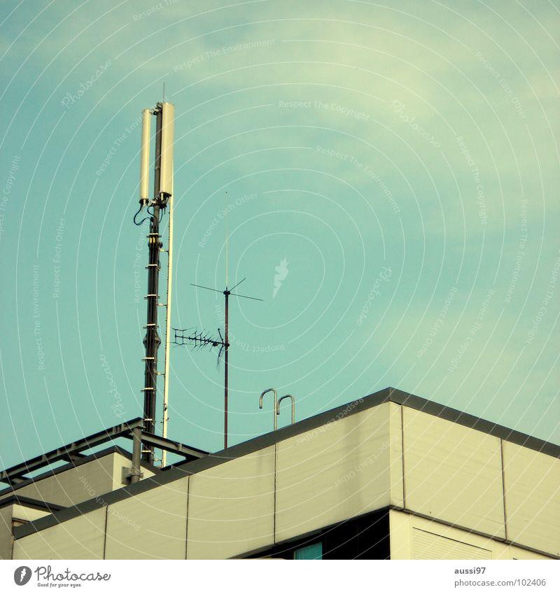 Hertzschmerz II Antenne Hochhaus senden Sendeleistung Strahlung Etage Dach Penthouse Smog Detailaufnahme Frequenz Rundfunksendung Elektromagnetismus Krebstier