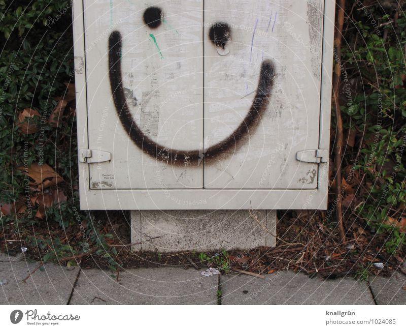 Smile Stadt Blatt Freude schwarz Graffiti Gefühle lustig grau Glück Stimmung dreckig Fröhlichkeit Lächeln Kommunizieren niedlich Freundlichkeit
