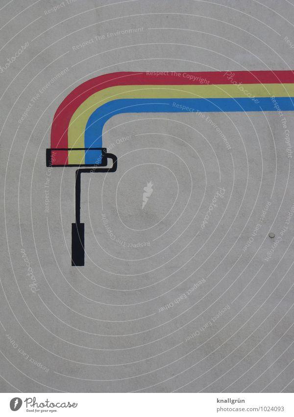 Effizient Mauer Wand Fassade Farbroller Malerwalze Farbwalze Graffiti streichen einzigartig blau gelb rot weiß Gefühle Freude Design Farbe Idee Kreativität