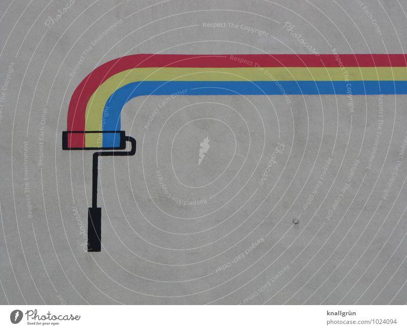 Gerade noch die Kurve gekriegt Mauer Wand Fassade Farbroller Malerrolle Graffiti streichen blau gelb rot weiß Gefühle Freude Fröhlichkeit Farbe Genauigkeit Idee