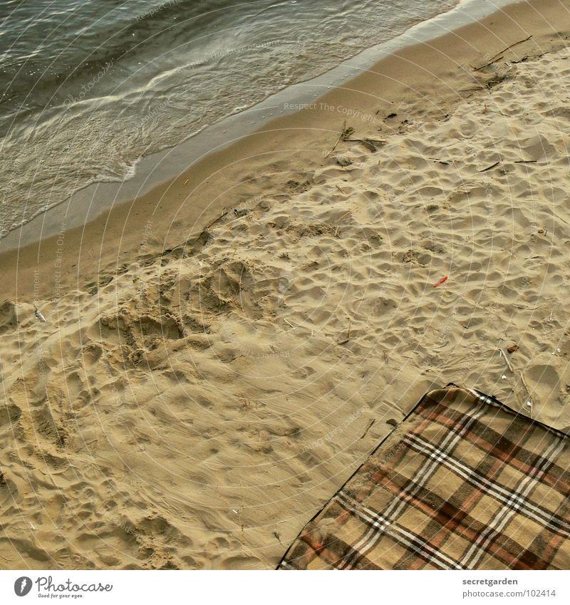 dinner for one Meer Strand schieben Wellen Wellengang Abend Vogelperspektive braun ruhig Erholung Picknick Menschenleer Fußspur Stoff Wellness Küste Wasser Sand