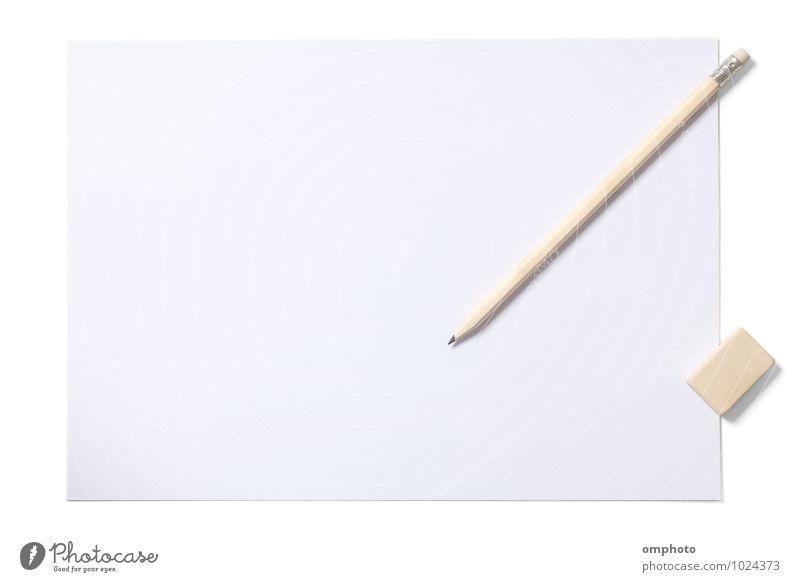 Leeres Blatt Bleistift und Radiergummi mit Beschneidungspfad auf Weiß Schule Büro Papier zeichnen schreiben neu oben Sauberkeit weiß Freiheit Schot blanko leer
