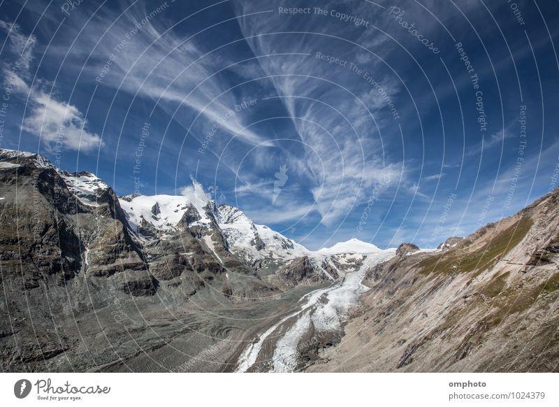 Landschaft mit hohen Berggipfeln und schmelzenden Gletschern schön Erholung Sommer Schnee Berge u. Gebirge Umwelt Natur Himmel Wolken Horizont Klima Klimawandel