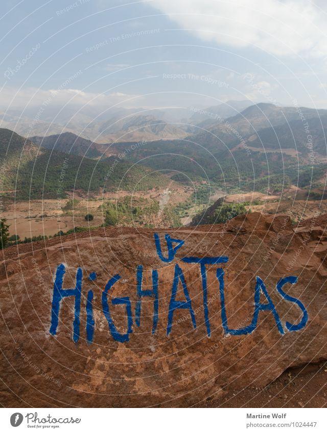 HIGH ATLAS Natur Landschaft Berge u. Gebirge Atlas Marokko Ferien & Urlaub & Reisen Tizi n'Tichka Pass Ferne Farbfoto Außenaufnahme Menschenleer