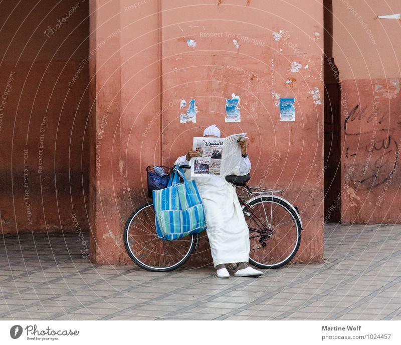 reading Mensch maskulin Mann Erwachsene 1 Marrakesch Marokko Afrika Mauer Wand Fassade Fahrrad lesen warten Gelassenheit Djemaa el-Fna El Ksour Arabien Zeitung