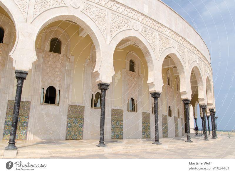 schräge Säulen Casablanca Marokko Afrika Stadt Hafenstadt Bauwerk Gebäude Architektur Moschee Sehenswürdigkeit Ferien & Urlaub & Reisen Religion & Glaube