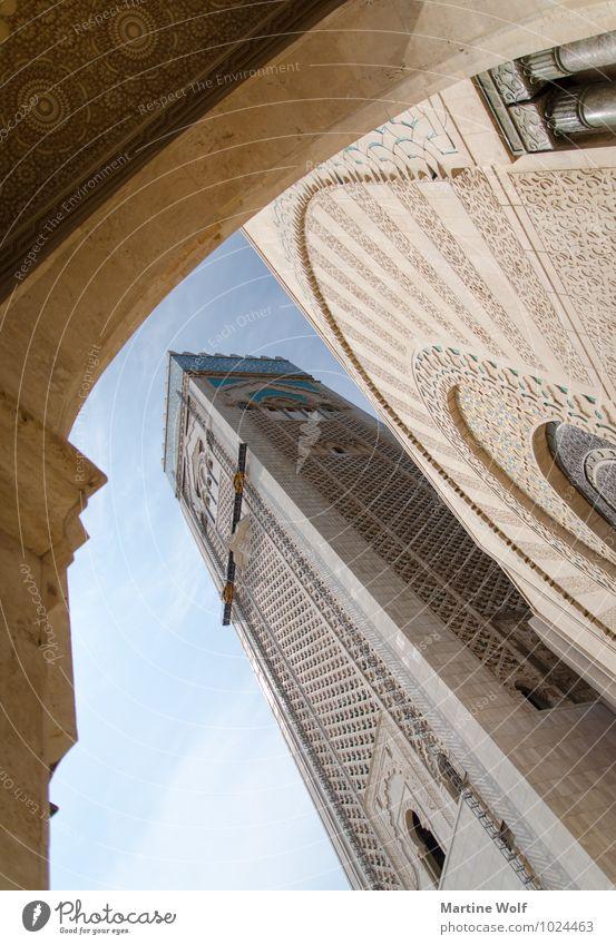 Hassan von unten Casablanca Marokko Afrika Stadt Hafenstadt Bauwerk Gebäude Architektur Moschee Ferien & Urlaub & Reisen Moschee Hassan II. ad-Dar al-bay?a?