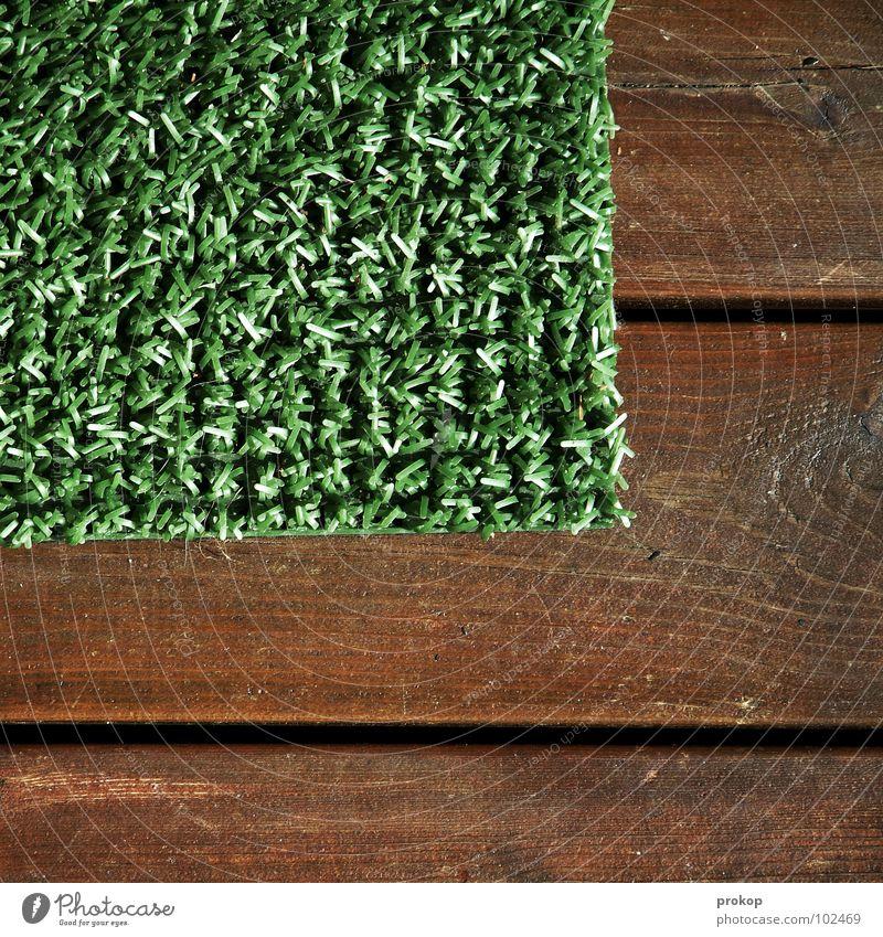 Ecke sehr wenige Kunstrasen Holz Fußmatte graphisch Quadrat Rechteck Geometrie Wiese simpel Langeweile obskur Ballsport mengenlehre Rasen Statue gestellt
