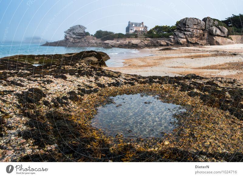 Haus amSee Umwelt Landschaft Sand Wasser Himmel Klima Wetter schlechtes Wetter Nebel Küste Strand Meer Atlantik Ploumanach Menschenleer blau braun gelb grau