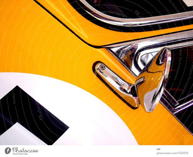 Oldtimer alt gelb PKW Design Fensterscheibe Oldtimer klassisch Motorsport Rückspiegel