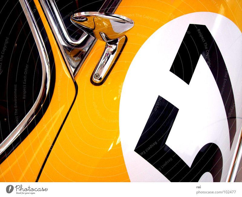 Oldtimer gelb Design klassisch Rückspiegel Motorsport PKW Fensterscheibe alt 57