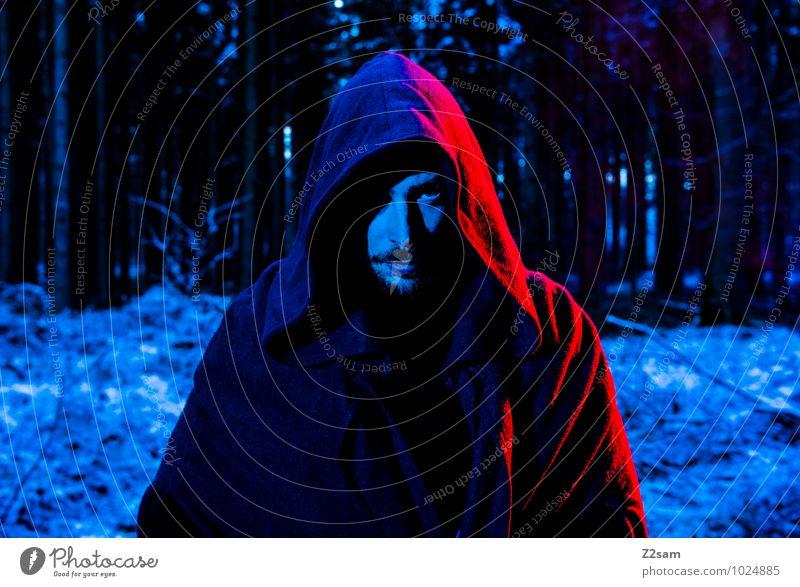 Dark Night Natur Mann blau Baum rot Landschaft dunkel Wald kalt Erwachsene Tod maskulin Idylle Sträucher bedrohlich einzigartig