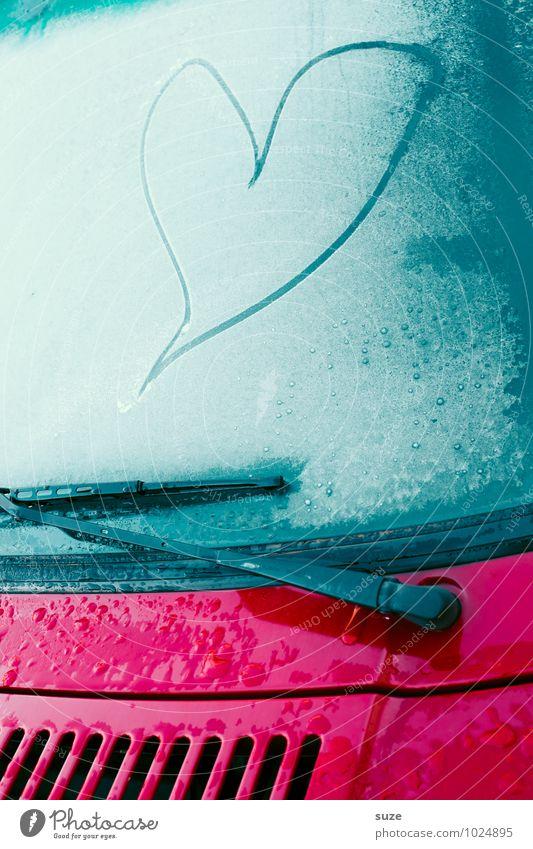 Frostschutz blau schön Einsamkeit Winter kalt Gefühle Liebe Autofenster Stimmung Lifestyle Eis PKW Verkehr Herz niedlich einfach