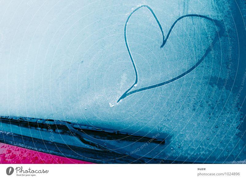 Das kalte Herz blau schön Einsamkeit Winter Gefühle Liebe Autofenster Stimmung Lifestyle Eis PKW einfach Coolness Zeichen
