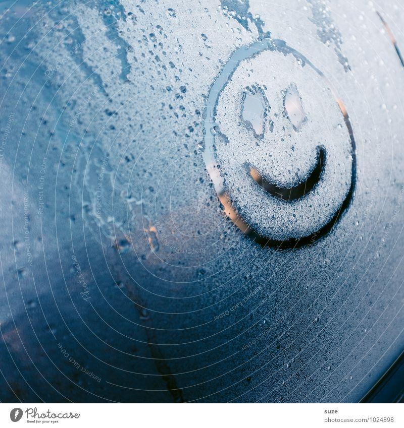 Selbstgemacht | be happy blau Freude Winter kalt Umwelt Autofenster Glück lachen Regen Wetter PKW Verkehr Fröhlichkeit Wassertropfen Klima nass