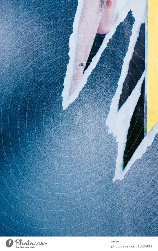 Zerreißprobe alt blau Wand Mauer Hintergrundbild Lifestyle Fassade Design Dekoration & Verzierung trist Beginn Vergänglichkeit kaputt trocken Vergangenheit Wut