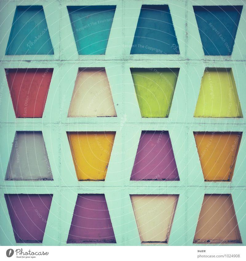 Bunt Trapeziert Stil Design Dekoration & Verzierung Kunst Kultur Gebäude Architektur Mauer Wand Fassade Zeichen außergewöhnlich eckig einfach schön einzigartig