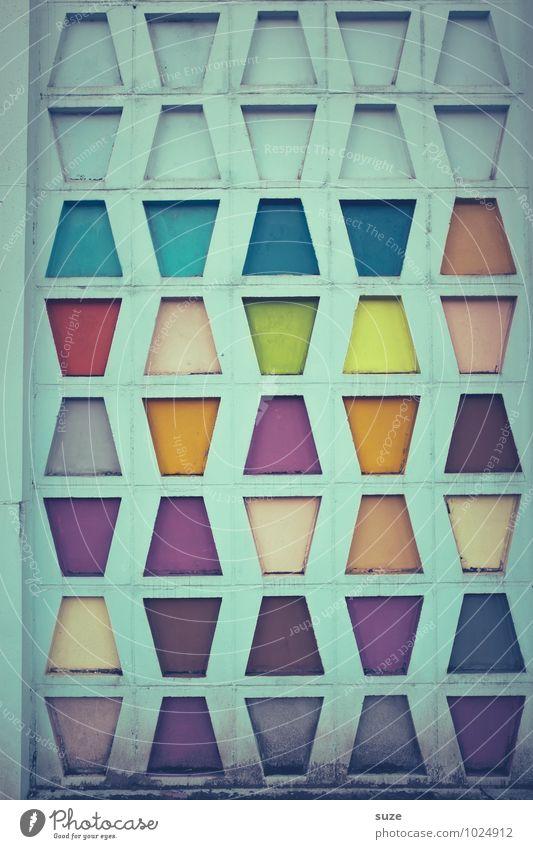 Retro | in Form und Farbe Stil Design Dekoration & Verzierung Kunst Kultur Gebäude Architektur Mauer Wand Fassade Zeichen außergewöhnlich eckig einfach