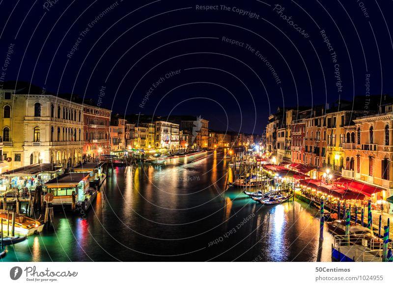 Venedig bei Nacht Ferien & Urlaub & Reisen Stadt Sommer Meer Haus Architektur Tourismus Ausflug Italien Abenteuer Fluss Wolkenloser Himmel Stadtzentrum