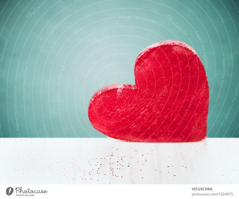 Ein großes Herz blau weiß rot Wand Gefühle Liebe Stil Mauer Holz Hintergrundbild Feste & Feiern Design Dekoration & Verzierung Geburtstag groß Herz